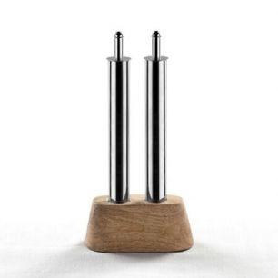 Olie en azijn set met houten onderzetter